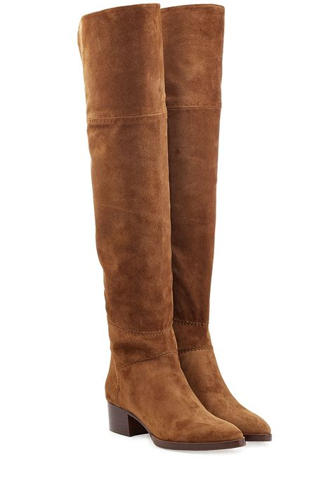 brown suede the knee boots lyst chlo 233 chlo 233 the knee suede boots camel in brown