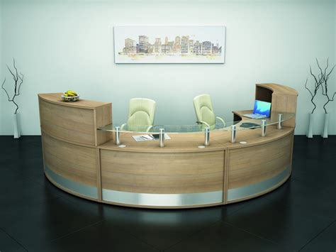 Rounded Reception Desk 1800mm Radius Curved Reception Desk With Glass Shelf Reality