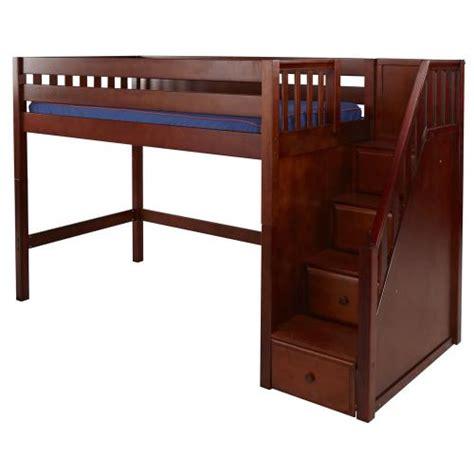 Maxtrix Galant Mid Loft Bed In Chestnut W Stairs Slat Mid Loft Bed