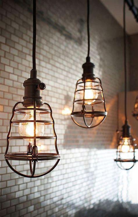 industrial style lighting industrial pendant lighting caged pendant light fixtures subway tile backspl http