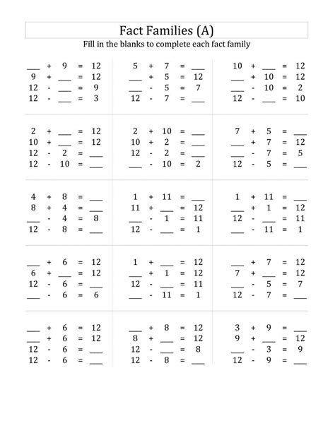 first grade information families of fact free printable multiplication and division fact families