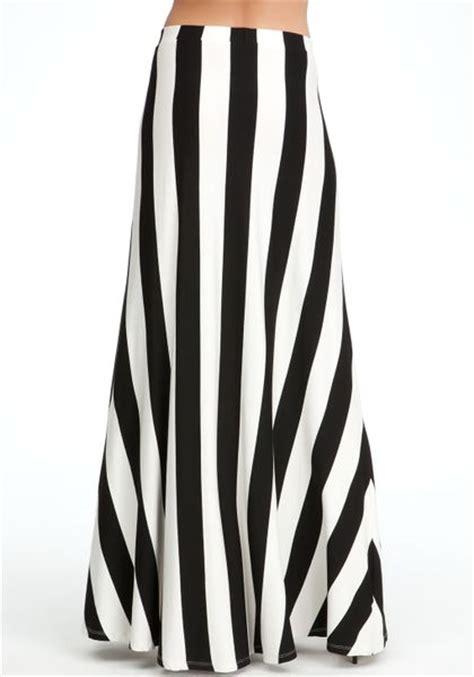 bebe vertical rugby stripe maxi skirt in black lyst