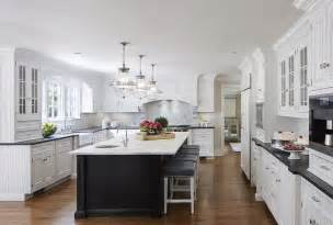 White Or Black Kitchen Cabinets White Cabinets With Black Island Transitional Kitchen