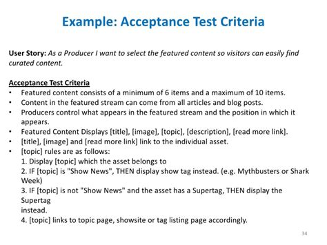 acceptance criteria design document lean product development at discovery communications