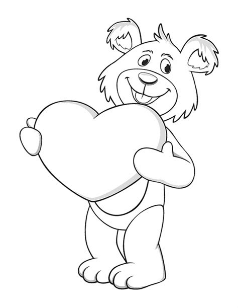 coloring pages of bears holding hearts valentine s day coloring pages bear with hearts
