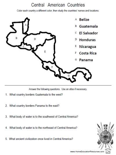 america map quiz worksheet answers central america worksheets fran s freebies