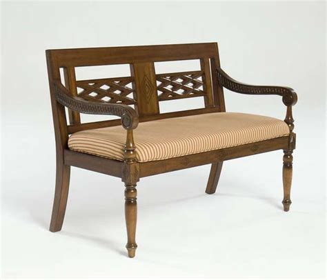 handcrafted  mahogany anglo indian colonial bench indonesian inspiration upholstered