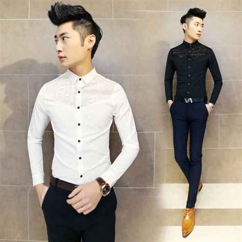 C54841 Legging Korea Polos Fit To M korean fashion slim fit mens lace shirt sleeve dress shirts casual designer clothes