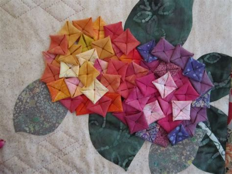 Origami Fabric Flowers - quilted hydrangeas made following a pattern in kumiko sudo