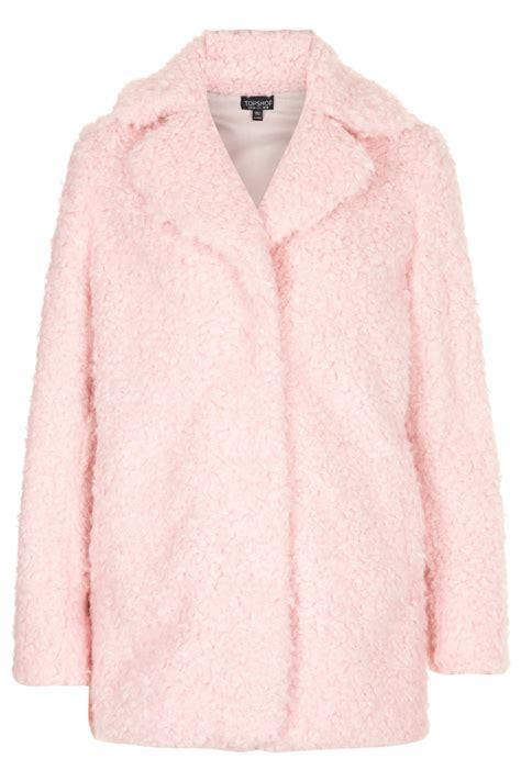 Top Shoo lyst topshop teddy fur pea coat in pink