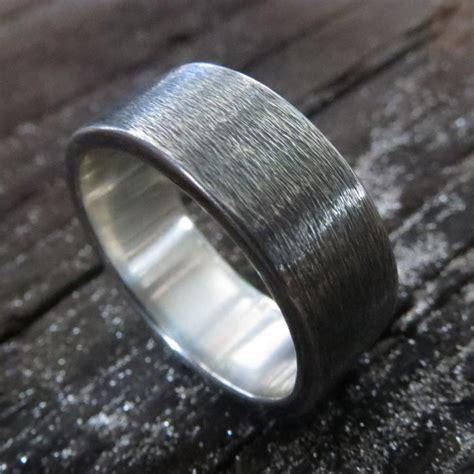 mens wedding ring oxidized sterling silver subtle