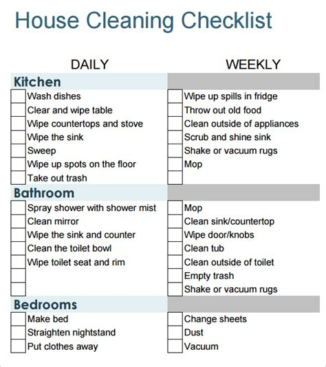 house cleaning schedule template sle house cleaning checklist 9 documents in pdf word