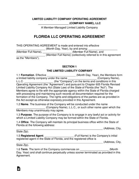 florida llc operating agreement sle florida multi member llc operating agreement form eforms