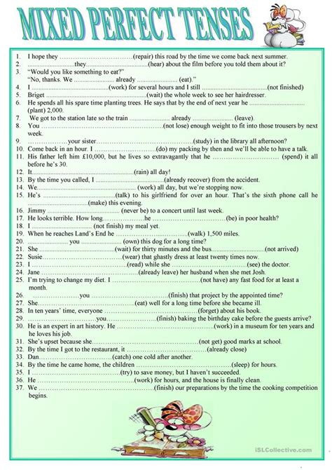 mixed tenses worksheet free esl printable