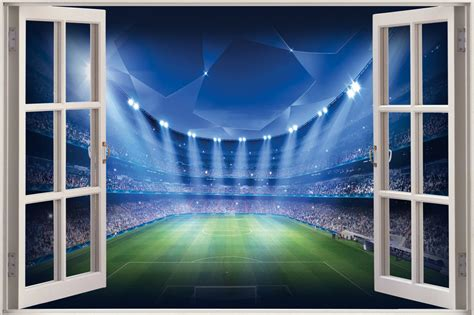 football wall murals for 3d window view football stadium wall sticker mural decal wallpaper ebay
