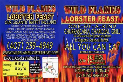 wild flames lobster feast discount drink coupon