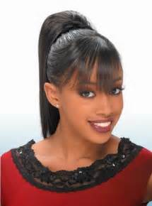 ponytails for american hair black ponytail hairstyles with bangs