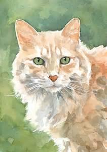water color cat orange cat watercolor david scheirer watercolors