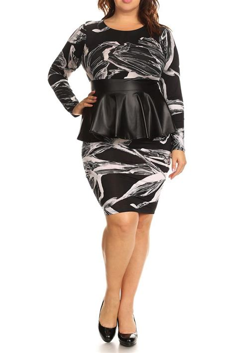 Abstract Peplum Dress abstract floral leather peplum plus size dress plussizefix