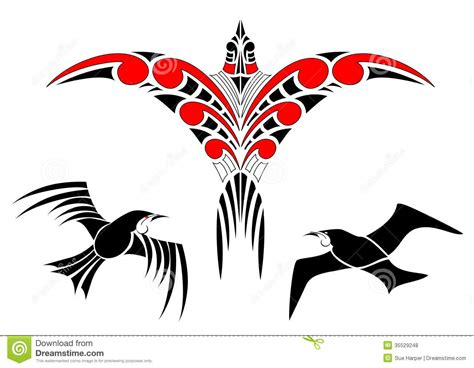 maori koru bird designs with tui stock vector image