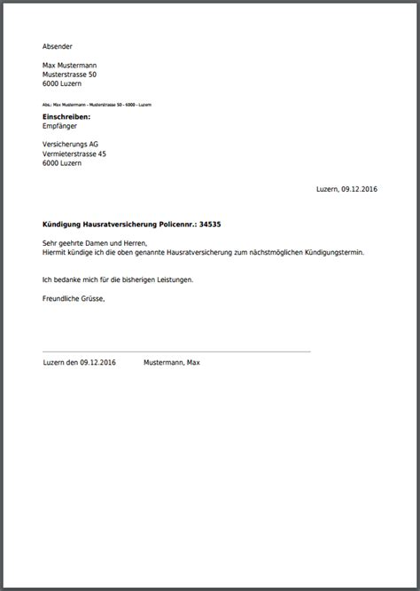 Eingeschriebener Brief Schweiz Vorlage K 252 Ndigungsschreiben Hausratversicherung Kostenlos Als Pdf