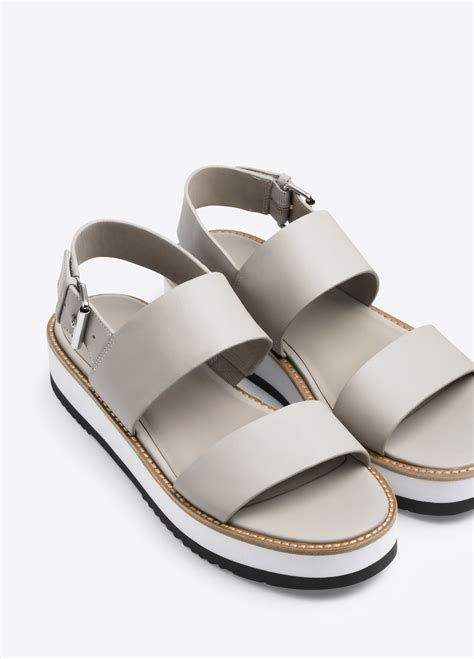 sandals for vince mana leather flatform sandals in gray lyst