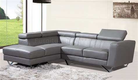 6201 sectional sofa in grey leather by at home usa