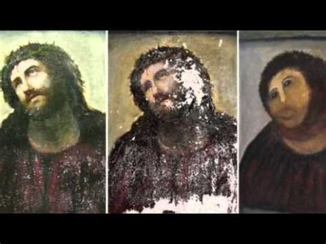 Jesus Painting Restoration Meme - spanish fresco restoration botched by amateur botched