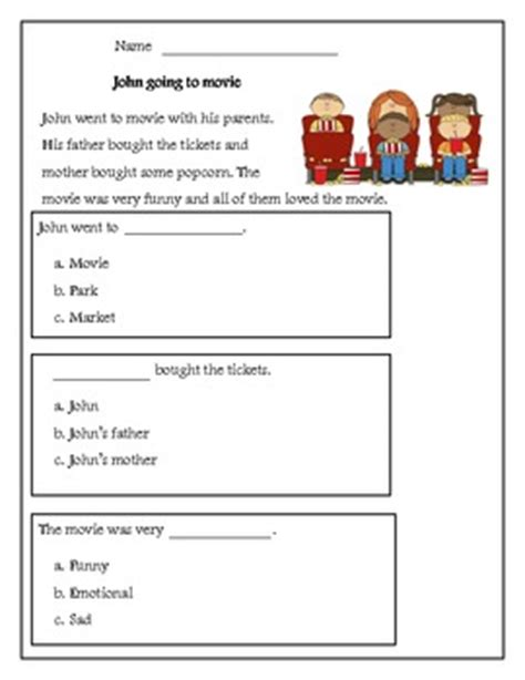reading comprehension test multiple choice questions kindergarten reading comprehension passage with multiple