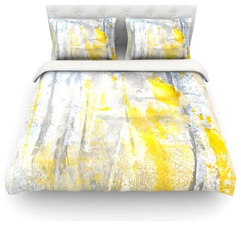 carollynn tice quot abstraction quot grey yellow duvet cover lightweight king contemporary duvet