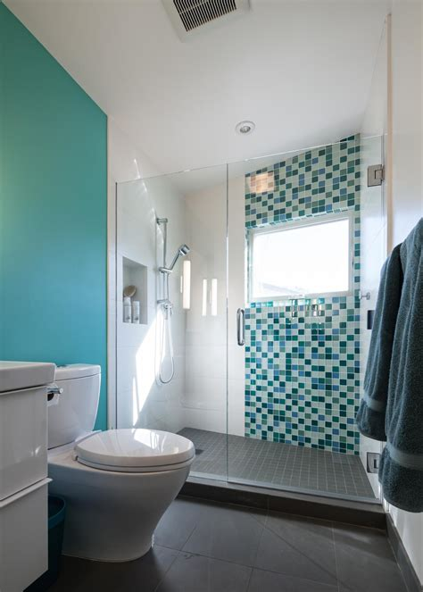 photos hgtv blue bathroom with mosaic glass tile photos hgtv contemporary shower boasts blue mosaic tile