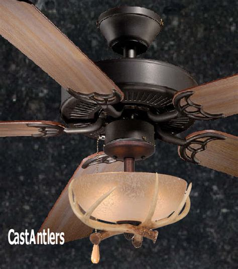 ceiling fan with bowl light standard size fans 52 quot rustic ceiling fan w antler bowl