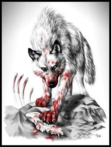 bloody anime wolf this is such a creepy pic it just