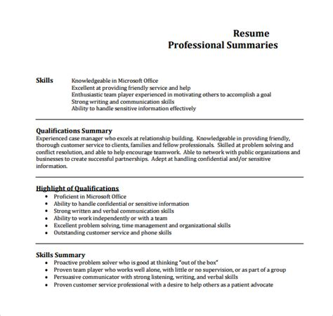 Resume Summary Template by Sle Professional Summary Template 8 Free Documents In Pdf