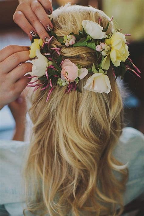 bridal hairstyles with flowers elegant wedding hairstyles half up half down tulle