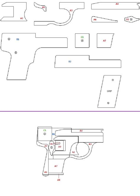 printable paper gun templates lilliput rubber band gun rubberband guns pinterest