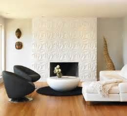 contemporary living room with 3d wall panel featuring - Decorative Wall Fireplace