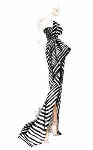 sketch of the one shoulder black and white striped j