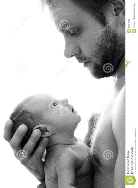 Father Holding Newborn Royalty Free Stock Image - Image