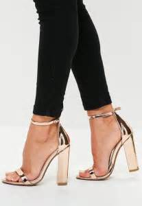 rose pattern heels rose gold block heel barely there heels missguided