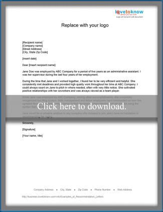 employee recommendation letter sle exles of recommendation letters lovetoknow