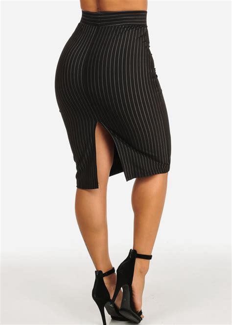 Slit Back Midi Skirt high rise black slim fit stripe print back slit pull on