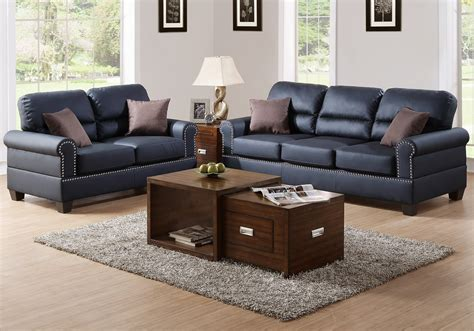 black leather sofa with nailhead trim modern 2 pcs sofa loveseat set black bonded leather