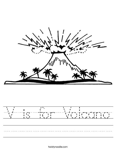 volcano coloring pages preschool v is for volcano worksheet twisty noodle
