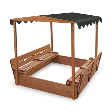wooden sandbox with bench covered convertible cedar sandbox w canopy two bench seats 99895