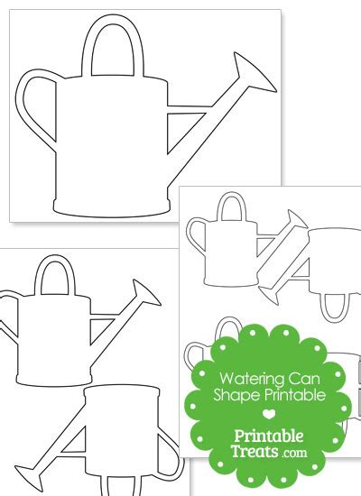 watering can template cards printable watering can shape printable treats