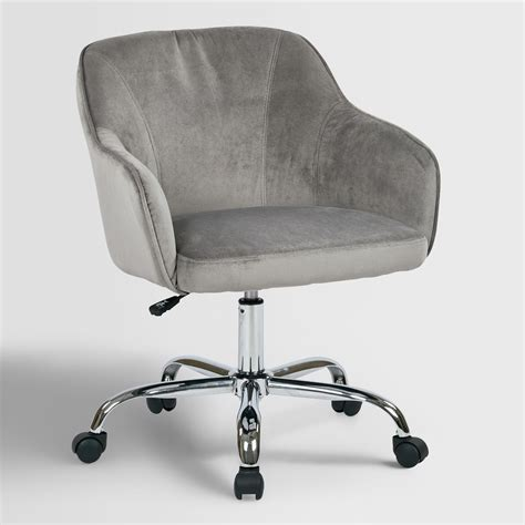 home chair gray velvet jozy home office chair world market