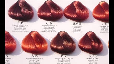 shades  red hair color chart red hair color