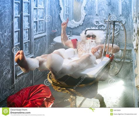 santa in the bathtub santa claus in the bathroom stock image image of