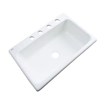 White Drop In Kitchen Sink Thermocast Manhattan Drop In Acrylic 33 In 4 Single Bowl Kitchen Sink In White 48400 The
